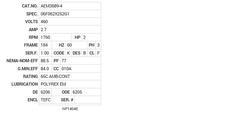 AEM3689-4 Baldor AC Motors Nameplate