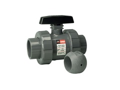 "Hayward TB2050FZ, 1/2"" CPVC True Union Ball Valve w/FPM o-rings; flanged end connections, drilled ball for N/AOCl"