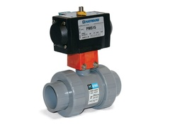 "Hayward PMSTB110STVA9, Actuated 1"" PVC TU Ball Valve w/FPM seals, socket/threaded ends, rack and pinion PMS Spring-Return Actuator incl."