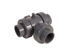 "Hayward HCLA2125STV90, 1-1/4"" Ready for Actuation 3-Way Lateral TU Ball Valve CPVC w/FPM o-rings, socket/threaded ends"
