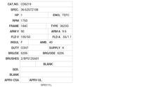 CD6219 Baldor DC Motors Nameplate