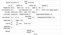 CECP84314T-4 Baldor AC Motors Nameplate