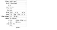 CEBM3714T-D Baldor AC Motors Nameplate