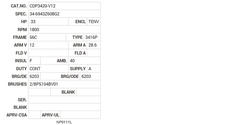CDP3420-V12 Baldor DC Motors Nameplate