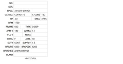 CDPX3416 Baldor DC Motors Nameplate