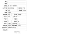 CDPX3406 Baldor DC Motors Nameplate
