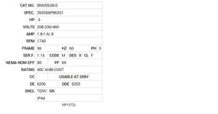 BNM3538-D Baldor AC Motors Nameplate