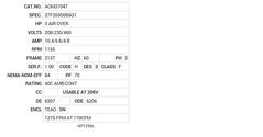 AOM3704T Baldor AC Motors Nameplate