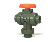 "Hayward TW1075FE, 3/4"" PVC 3-Way True Union Ball Valves w/EPDM o-rings; flanged end connections"