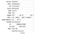 AOM3554T Baldor AC Motors Nameplate