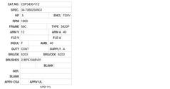 CDP3430-V12 Baldor DC Motors Nameplate