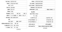 CECP3774T Baldor AC Motors Nameplate