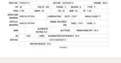 AEM4307-4 Baldor AC Motors Nameplate