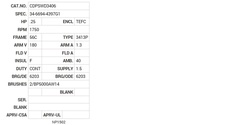CDPSWD3406 Baldor DC Motors Nameplate