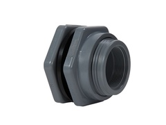 "Hayward BFA3012TFS, 1-1/4"" PP Bulkhead Fitting w/FPM standard flange gasket; threaded x threaded end connections"