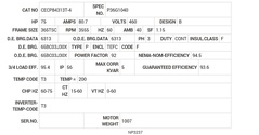 CECP84313T-4 Baldor AC Motors Nameplate