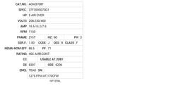 AOM3708T Baldor AC Motors Nameplate
