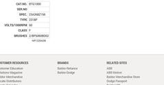 BTG1000 Baldor DC Motors Nameplate