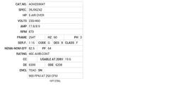 AOM25904T Baldor AC Motors Nameplate