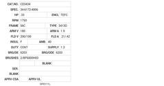 CD3434 Baldor DC Motors Nameplate