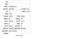 CDX1850 Baldor DC Motors Nameplate