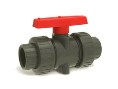 "Hayward TBB5015FPFW, 1-1/2"" PVDF True Union Ball Valve w/FPM o-rings; flanged end connections"