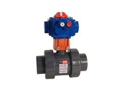 "Hayward HCTB4P125TACTFV, 1-1/4"" Ready for Actuation TU Ball Valve GFPP w/FPM o-rings, flanged ends"