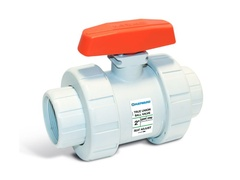 "Hayward TB4P125S, 1-1/4"" GFPP True Union Ball Valve w/FPM o-rings; IPS socket fusion ends"