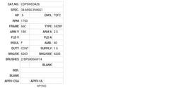CDPSWD3426 Baldor DC Motors Nameplate