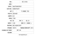 CEBM7023T Baldor AC Motors Nameplate