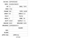 CDPSWD3430 Baldor DC Motors Nameplate