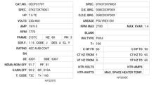 CECP3770T Baldor AC Motors Nameplate
