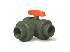 "Hayward LA2125F, 1-1/4"" CPVC 3-Way Lateral True Union Ball Valves w/FPM o-rings; flanged end connections"