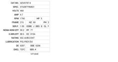 AEM3787-4 Baldor AC Motors Nameplate