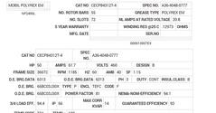 CECP84312T-4 Baldor AC Motors Nameplate