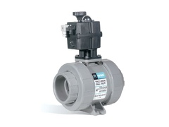 "Hayward ECPTB120STV, Actuated 2"" PVC TU Ball Valve w/FPM seals, socket/threaded ends, 120-230 VAC ECP Actuator w/ man. override, pos. LED & 4 limit switch incl."