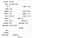 CD7503 Baldor DC Motors Nameplate