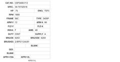 CDP3440-V12 Baldor DC Motors Nameplate