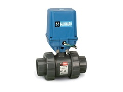 "Hayward EATB1150STE, Actuated 1-1/2"" PVC TU Ball Valve w/EPDM seals, socket/threaded ends, 115 VAC EA Actuator included"