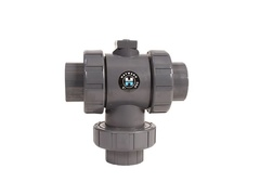 "Hayward HCTN1050FV, 1/2"" Ready for Actuation 3-Way TU Ball Valve PVC w/FPM o-rings, flanged ends"