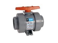 "Hayward TB2400TZ, 4"" CPVC True Union Ball Valve w/FPM o-rings; threaded end connections, drilled ball for N/AOCl"
